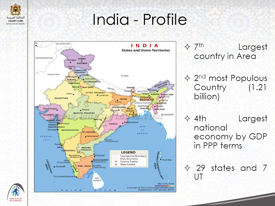 India - Profile  7 th Largest country in Area  2 nd most Populous Country (1.21 billion)  4th Largest national economy by GDP in PPP terms  29 sta
