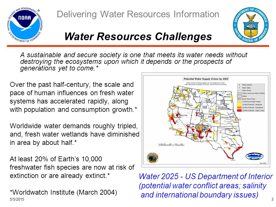 Delivering Water Resources Information 5/5/20154 Water Prediction Capabilities, Gaps, Impacts Flood Mitigation (~$25M/yr**) River Forecasting System Power Optimization (~$50 M/yr**) Coupled Water and Weather Models Ecologically Sound Water Planning (~$100M/yr**) Coupled Water, Climate, and Ecosystem Models **Estimated Potential Economic Benefits