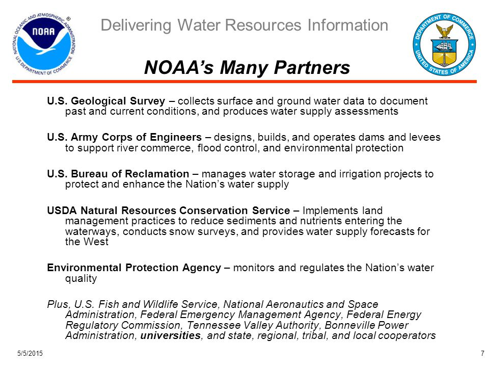 Delivering Water Resources Information 5/5/20158 Forty-three water management challenges of current or potential value to our Nation and the Environment Water Availability (18) – supply, quality, pollution control, observations, predictions, and long-terms trends Water Use (9) – consumptive and agricultural use, aquatic ecosystem impacts, and species and ecosystem restoration Water Institutions and Information Markets (16) – water management laws, regulation, demands, pricing structures, risk communication, and understanding decision processes National Research Council Priorities