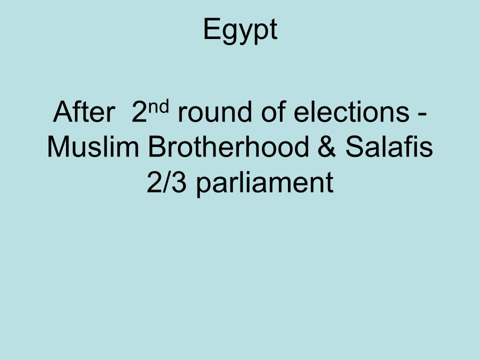 Egypt After 2 nd round of elections - Muslim Brotherhood & Salafis 2/3 parliament