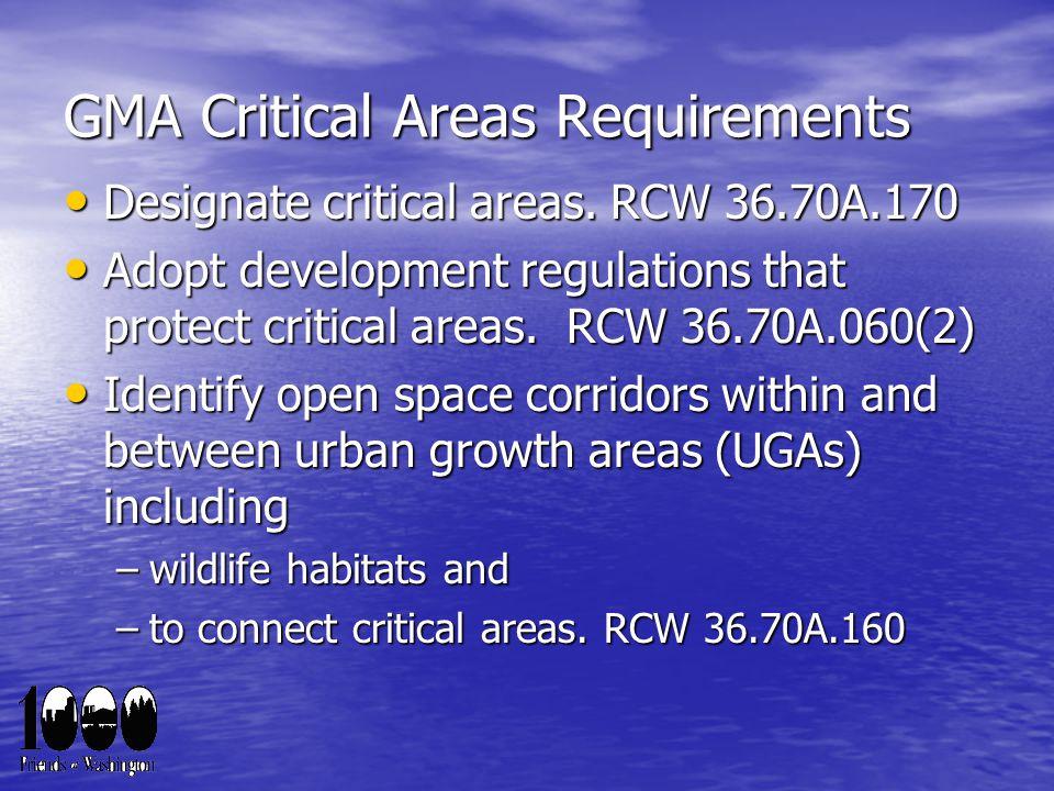 GMA Critical Areas Requirements Designate critical areas.
