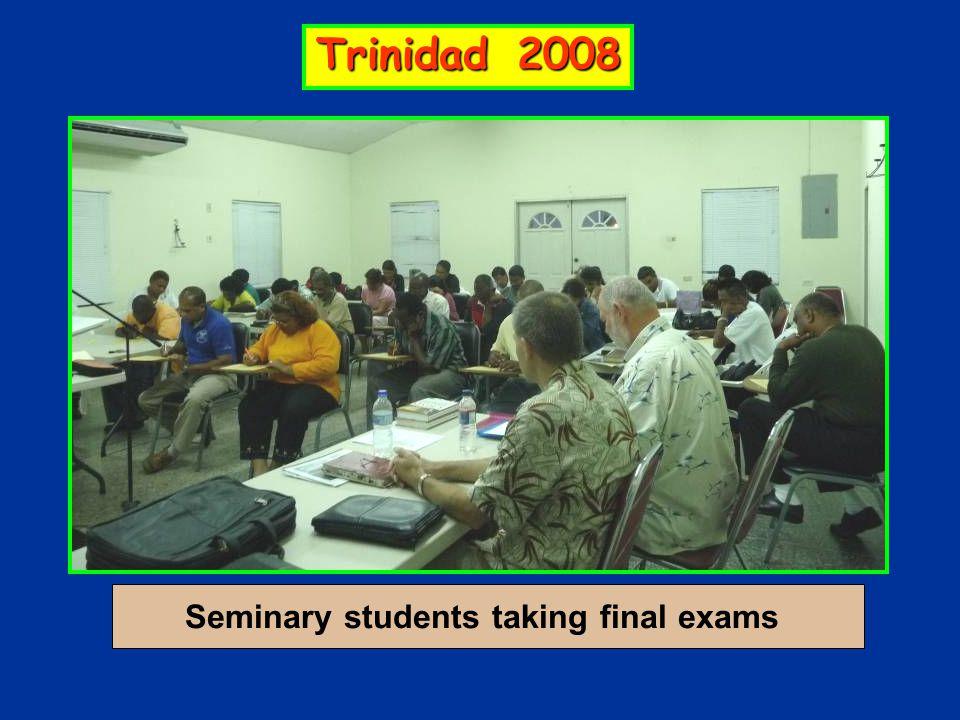 Seminary students taking final exams Trinidad 2008