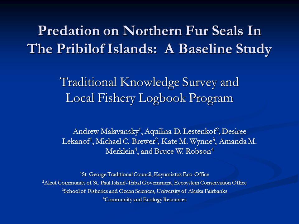 Study Design Baseline information about predation on fur seals around the Pribilof Islands.