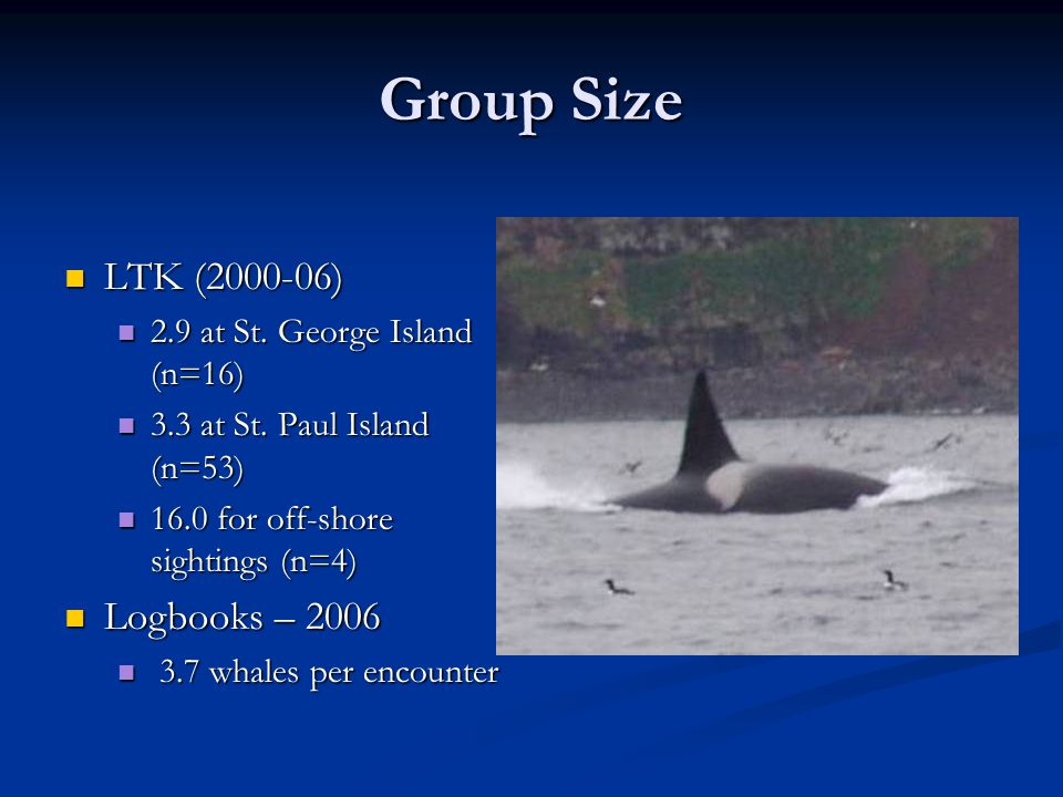 Group Size LTK (2000-06) LTK (2000-06) 2.9 at St. George Island (n=16) 2.9 at St.