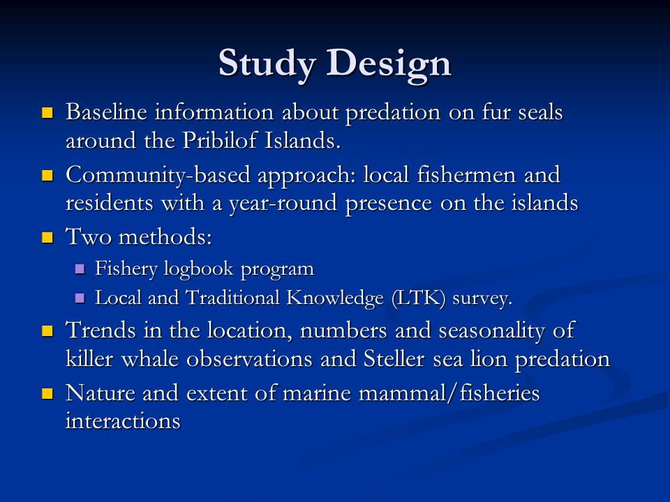 Summary Observations No gear interaction between killer whales and halibut fishery near shore, only at shelf break No gear interaction between killer whales and halibut fishery near shore, only at shelf break Small killer whale group sizes near islands Small killer whale group sizes near islands No predation by sea lions on fur seal pups at St.