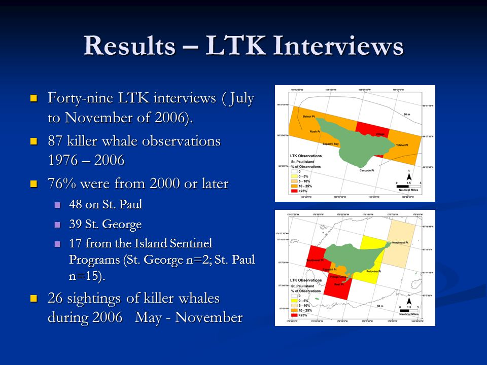 Results – LTK Interviews Forty-nine LTK interviews ( July to November of 2006).