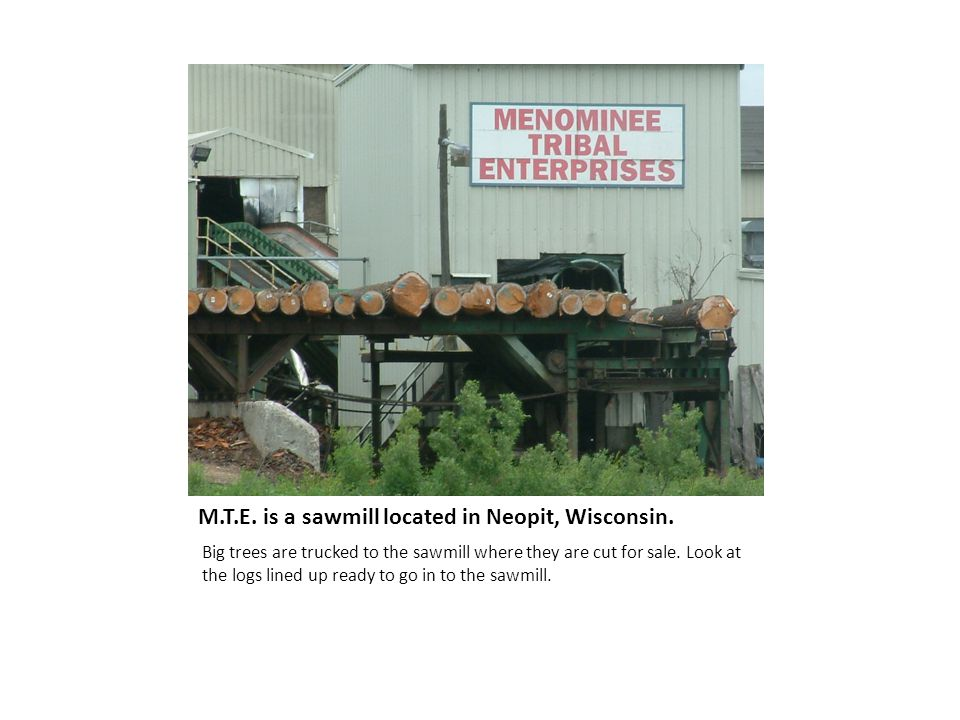 M.T.E. is a sawmill located in Neopit, Wisconsin.