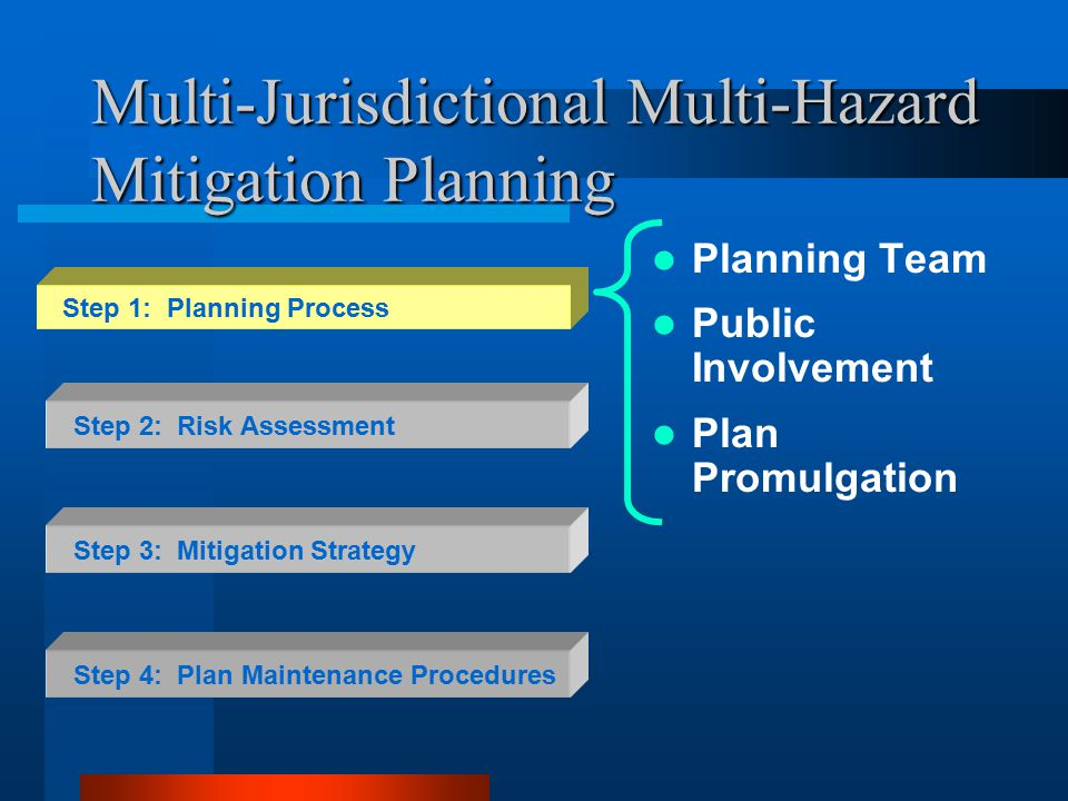 Multi-Jurisdictional Multi-Hazard Mitigation Planning Planning Team Public Involvement Plan Promulgation Step 2: Risk Assessment Step 3: Mitigation Strategy Step 4: Plan Maintenance Procedures Step 1: Planning Process
