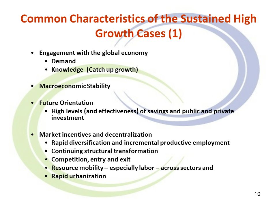 10 Common Characteristics of the Sustained High Growth Cases (1) Engagement with the global economy Demand Knowledge (Catch up growth) Macroeconomic Stability Future Orientation High levels (and effectiveness) of savings and public and private investment Market incentives and decentralization Rapid diversification and incremental productive employment Continuing structural transformation Competition, entry and exit Resource mobility – especially labor – across sectors and Rapid urbanization