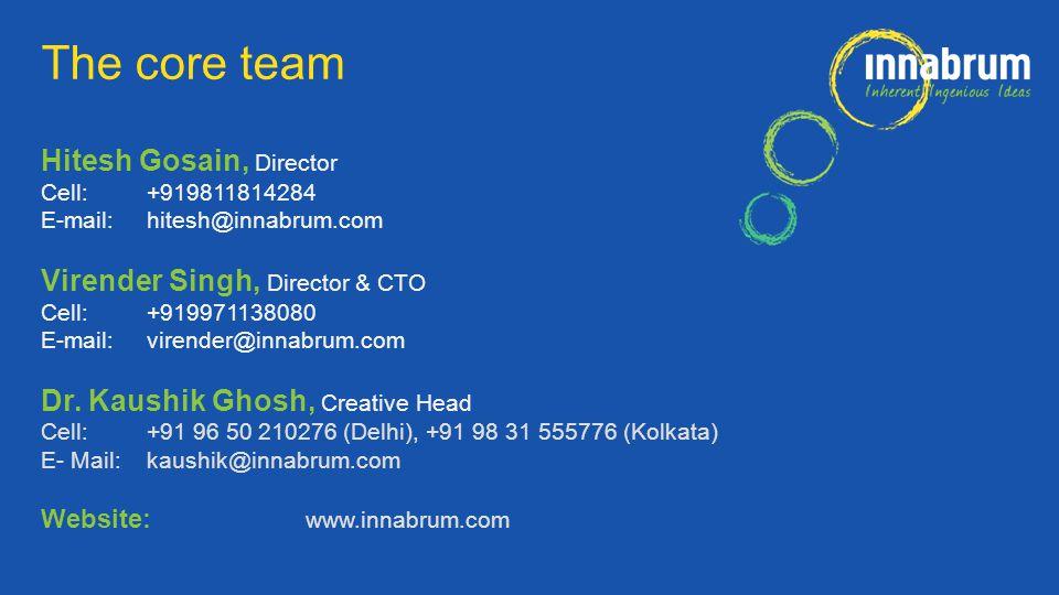 Hitesh Gosain, Director Cell:+919811814284 E-mail: hitesh@innabrum.com Virender Singh, Director & CTO Cell:+919971138080 E-mail: virender@innabrum.com Dr.