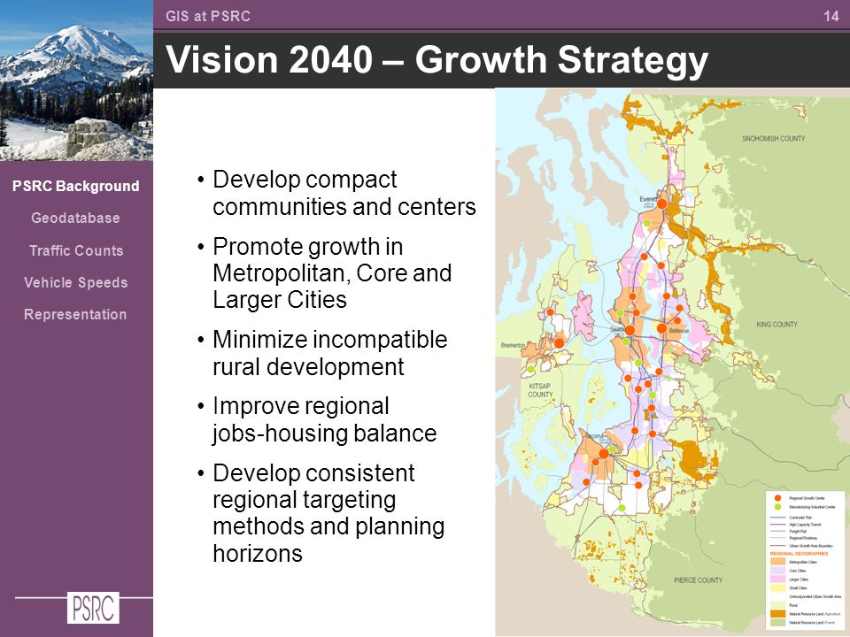 14 Vision 2040 – Growth Strategy GIS at PSRC PSRC Background Geodatabase Traffic Counts Vehicle Speeds Representation Develop compact communities and centers Promote growth in Metropolitan, Core and Larger Cities Minimize incompatible rural development Improve regional jobs-housing balance Develop consistent regional targeting methods and planning horizons