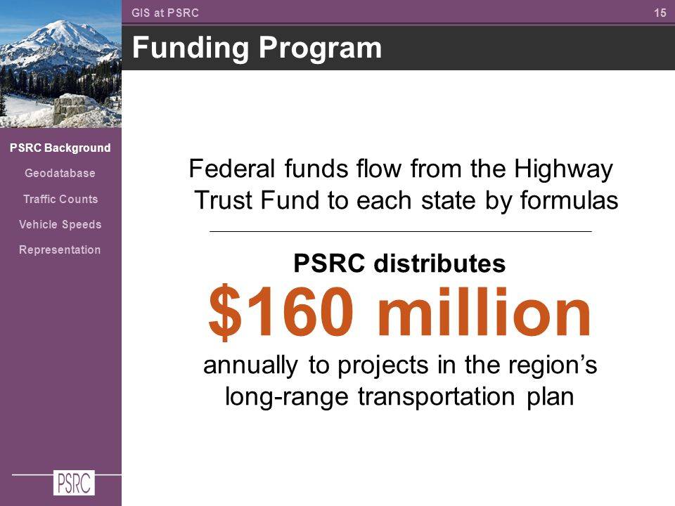 15 Funding Program GIS at PSRC PSRC Background Geodatabase Traffic Counts Vehicle Speeds Representation Federal funds flow from the Highway Trust Fund to each state by formulas PSRC distributes $160 million annually to projects in the region's long-range transportation plan