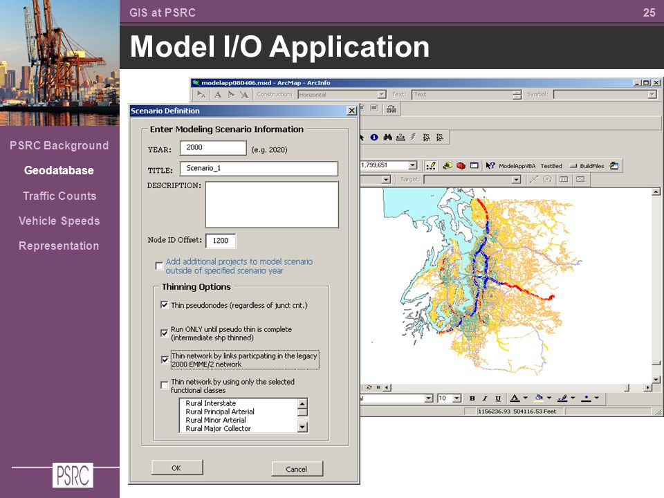 25 Model I/O Application GIS at PSRC PSRC Background Geodatabase Traffic Counts Vehicle Speeds Representation