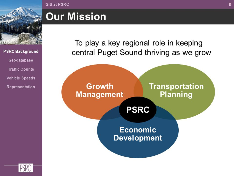 88 Our Mission GIS at PSRC PSRC Background Geodatabase Traffic Counts Vehicle Speeds Representation To play a key regional role in keeping central Puget Sound thriving as we grow Growth Management Economic Development PSRC Transportation Planning