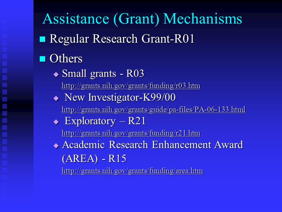 Assistance (Grant) Mechanisms Regular Research Grant-R01 Regular Research Grant-R01 Others Others  Small grants - R03 http://grants.nih.gov/grants/funding/r03.htm  New Investigator-K99/00 http://grants.nih.gov/grants/guide/pa-files/PA-06-133.html  Exploratory – R21 http://grants.nih.gov/grants/funding/r21.htm  Academic Research Enhancement Award (AREA) - R15 http://grants.nih.gov/grants/funding/area.htm