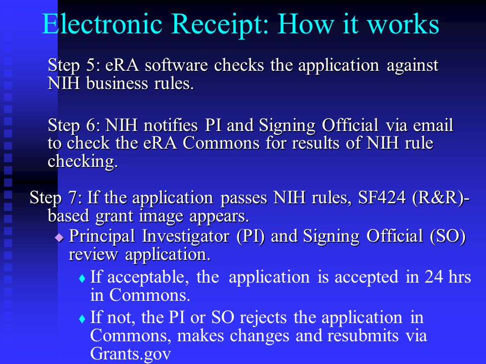 Electronic Receipt: How it works Step 5: eRA software checks the application against NIH business rules.