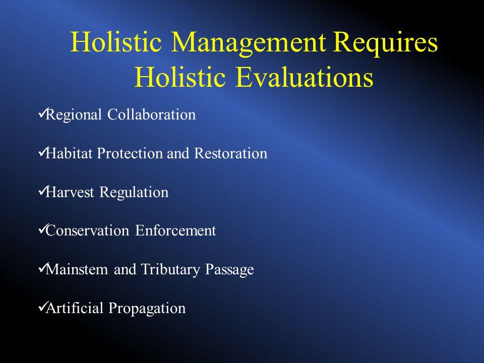 Holistic Management Requires Holistic Evaluations Regional Collaboration Habitat Protection and Restoration Harvest Regulation Conservation Enforcemen