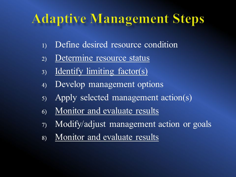 1) Define desired resource condition 2) Determine resource status 3) Identify limiting factor(s) 4) Develop management options 5) Apply selected management action(s) 6) Monitor and evaluate results 7) Modify/adjust management action or goals 8) Monitor and evaluate results