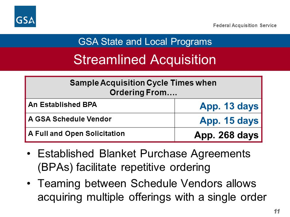 11 Federal Acquisition Service GSA State and Local Programs Streamlined Acquisition Sample Acquisition Cycle Times when Ordering From….