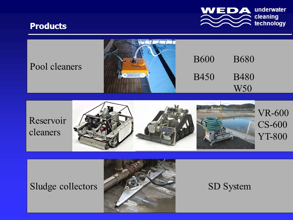 underwater cleaning technology Sludge collectors Reservoir cleaners Pool cleaners Products B600 B450 B680 B480 W50 VR-600 CS-600 YT-800 SD System
