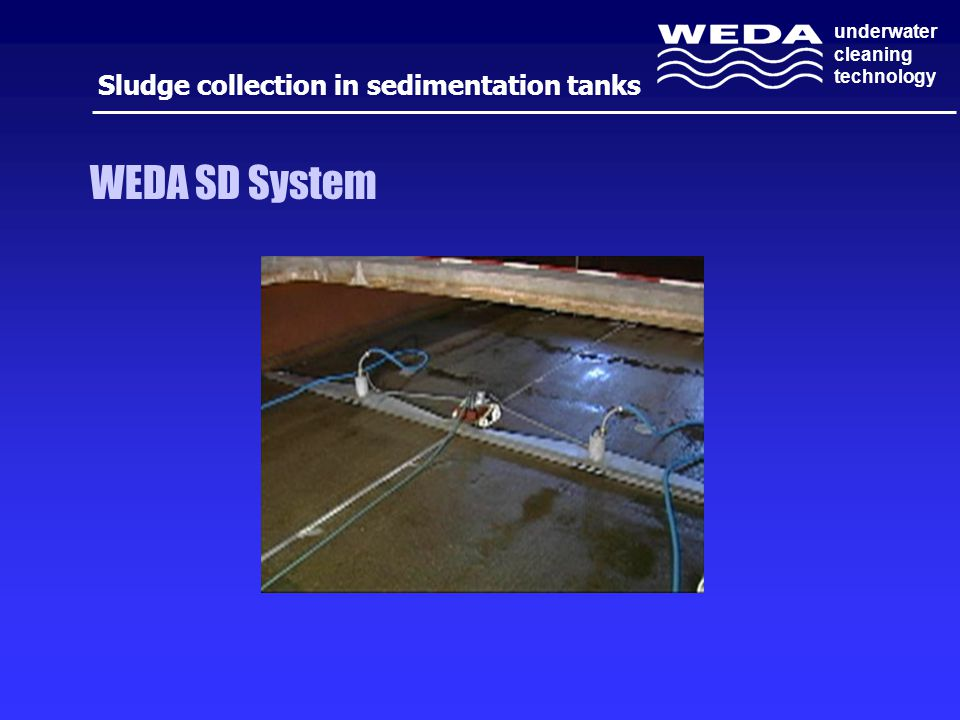 underwater cleaning technology WEDA SD System Sludge collection in sedimentation tanks