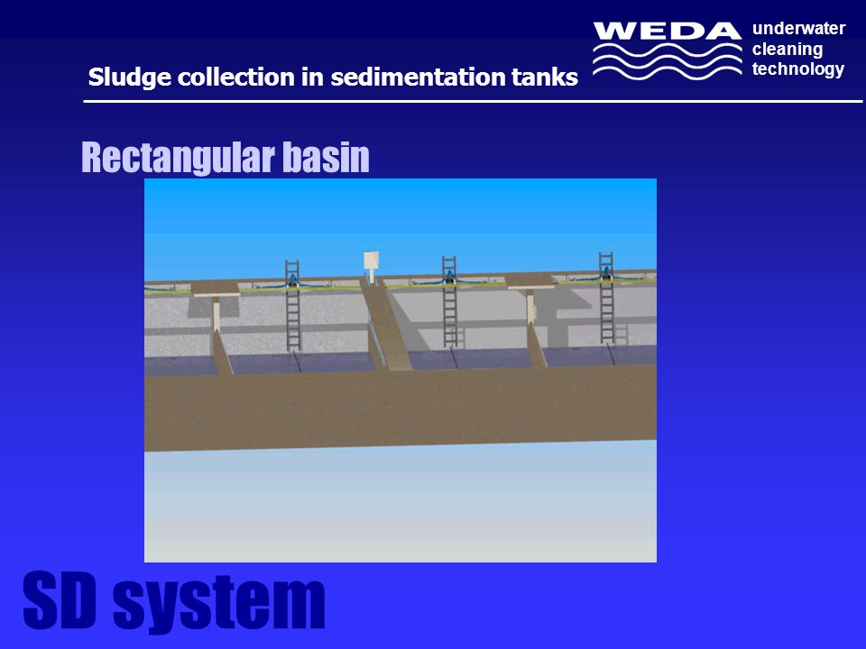 underwater cleaning technology Sludge collection in sedimentation tanks SD system Rectangular basin