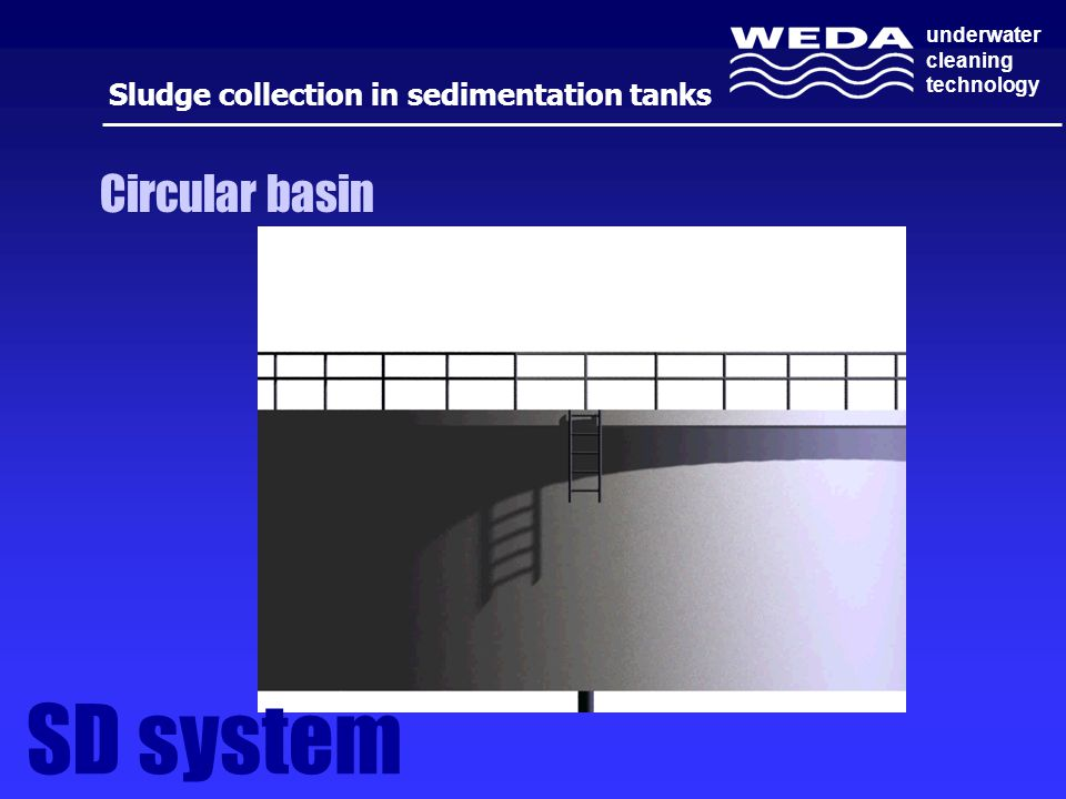 underwater cleaning technology Sludge collection in sedimentation tanks Circular basin SD system