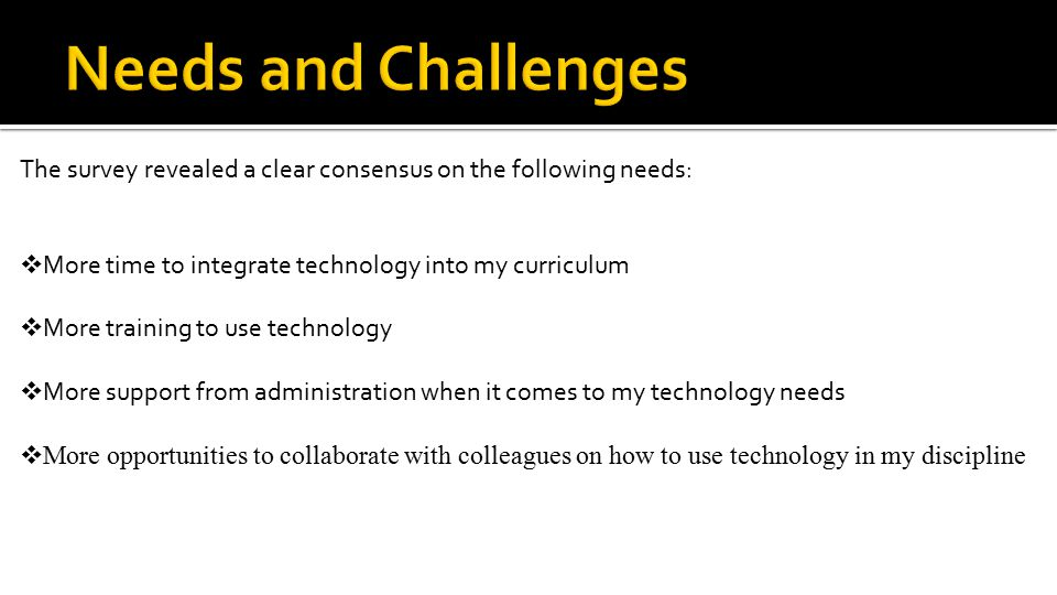 The survey revealed a clear consensus on the following needs:  More time to integrate technology into my curriculum  More training to use technology  More support from administration when it comes to my technology needs  More opportunities to collaborate with colleagues on how to use technology in my discipline