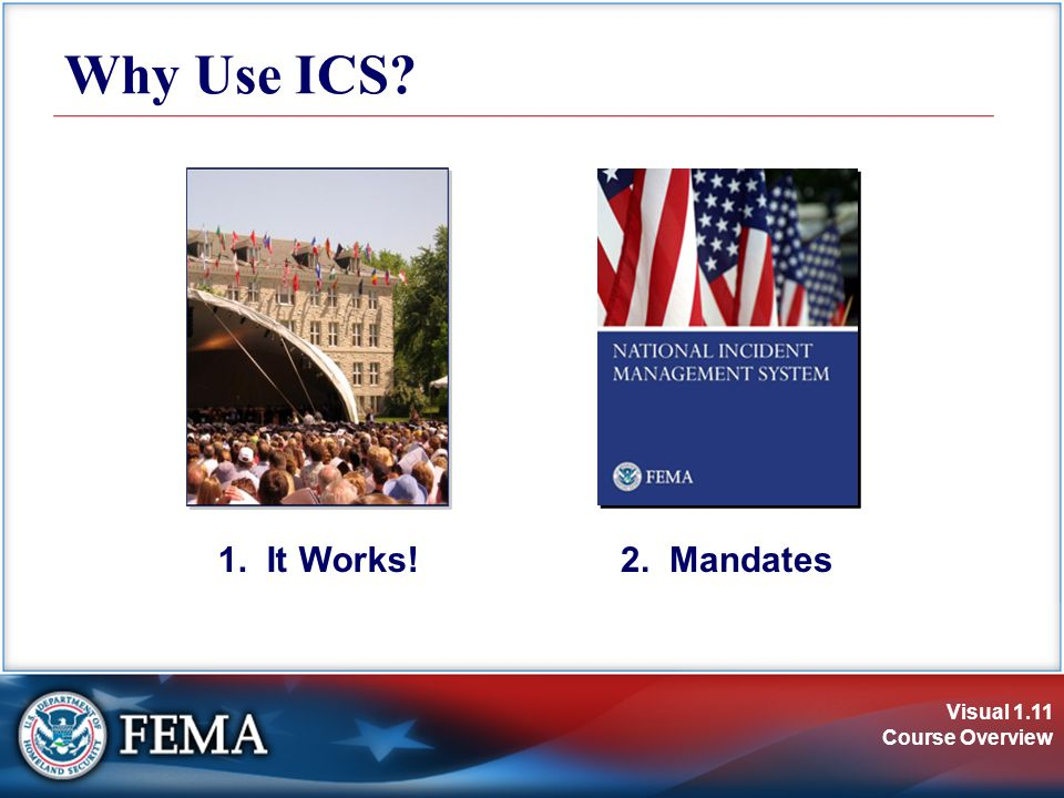 Visual 1.11 Course Overview Why Use ICS? 1. It Works!2. Mandates