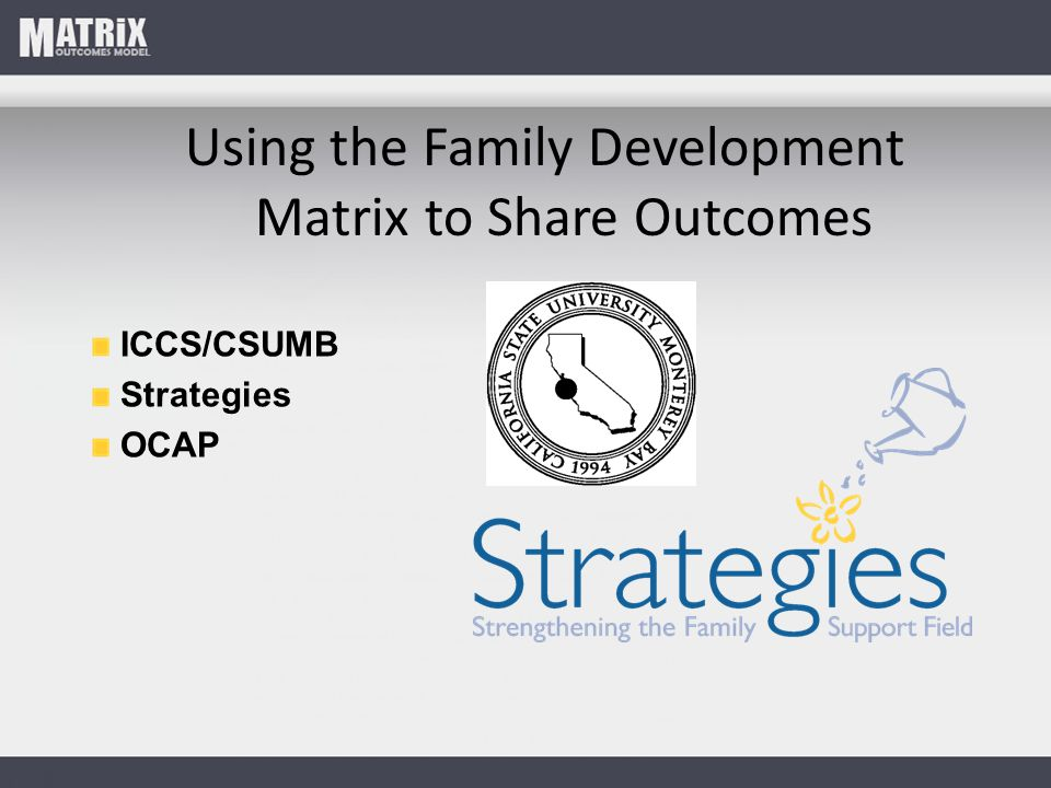 Using the Family Development Matrix to Share Outcomes ICCS/CSUMB Strategies OCAP