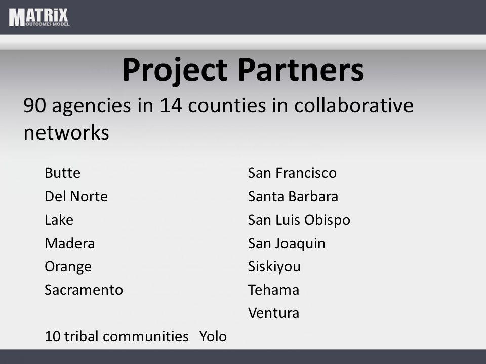 Project Partners 90 agencies in 14 counties in collaborative networks ButteSan Francisco Del NorteSanta Barbara LakeSan Luis Obispo MaderaSan Joaquin