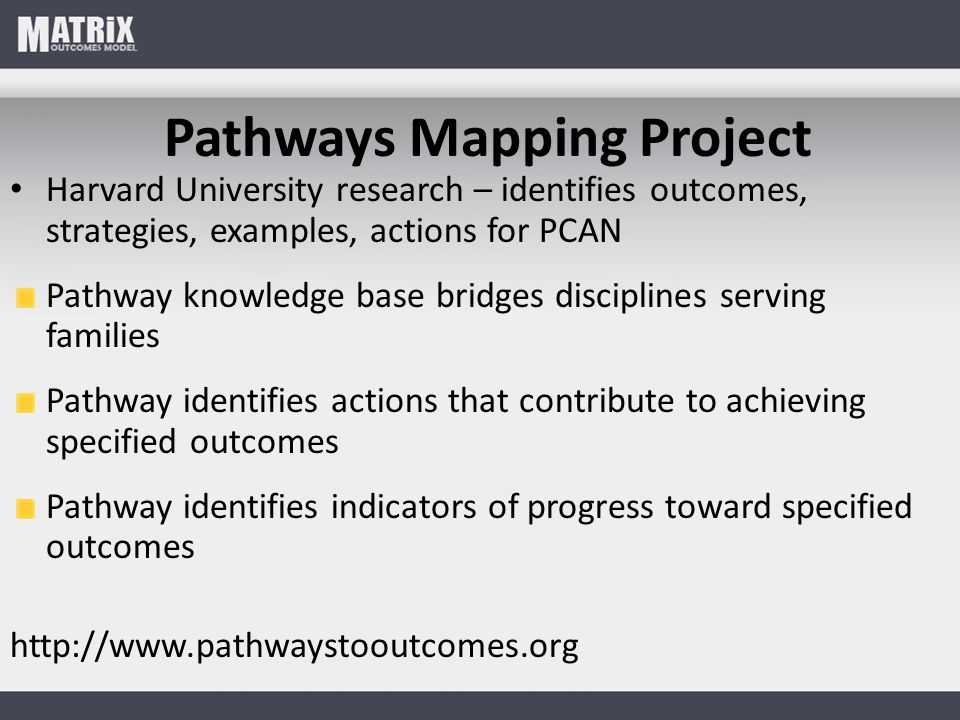 Pathways Mapping Project Harvard University research – identifies outcomes, strategies, examples, actions for PCAN Pathway knowledge base bridges disciplines serving families Pathway identifies actions that contribute to achieving specified outcomes Pathway identifies indicators of progress toward specified outcomes http://www.pathwaystooutcomes.org