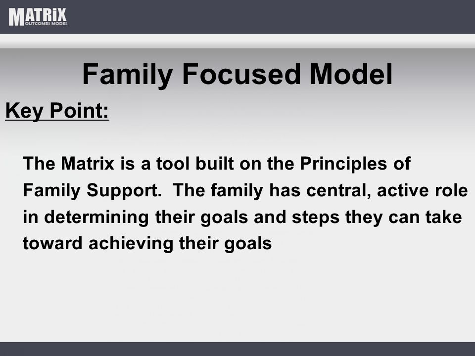 Family Focused Model Key Point: The Matrix is a tool built on the Principles of Family Support.