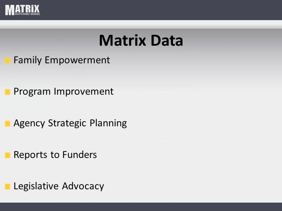 Matrix Data Family Empowerment Program Improvement Agency Strategic Planning Reports to Funders Legislative Advocacy