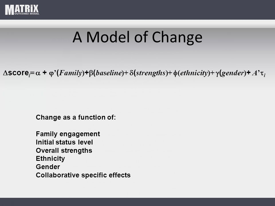 A Model of Change  score i =  +  ' ( Family) +  ( baseline)+  ( strengths)+  (ethnicity)+  ( gender) + A'  i Change as a function of: Family engagement Initial status level Overall strengths Ethnicity Gender Collaborative specific effects