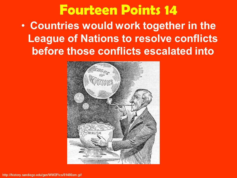 Fourteen Points 14 Countries would work together in the League of Nations to resolve conflicts before those conflicts escalated into war.