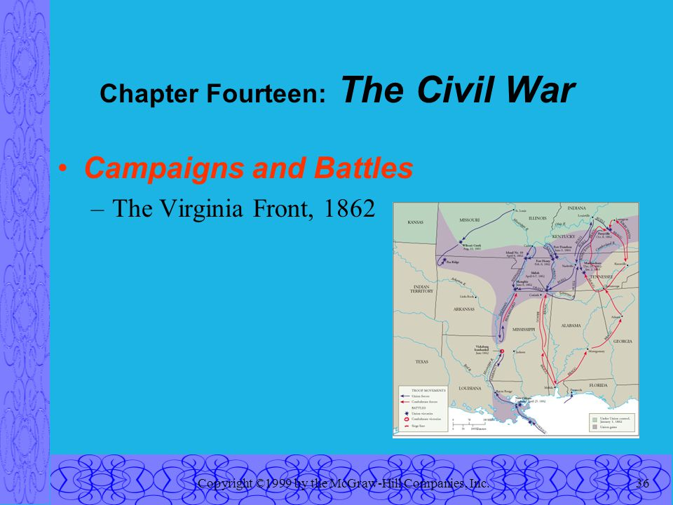 Copyright ©1999 by the McGraw-Hill Companies, Inc.36 Chapter Fourteen: The Civil War Campaigns and Battles –The Virginia Front, 1862