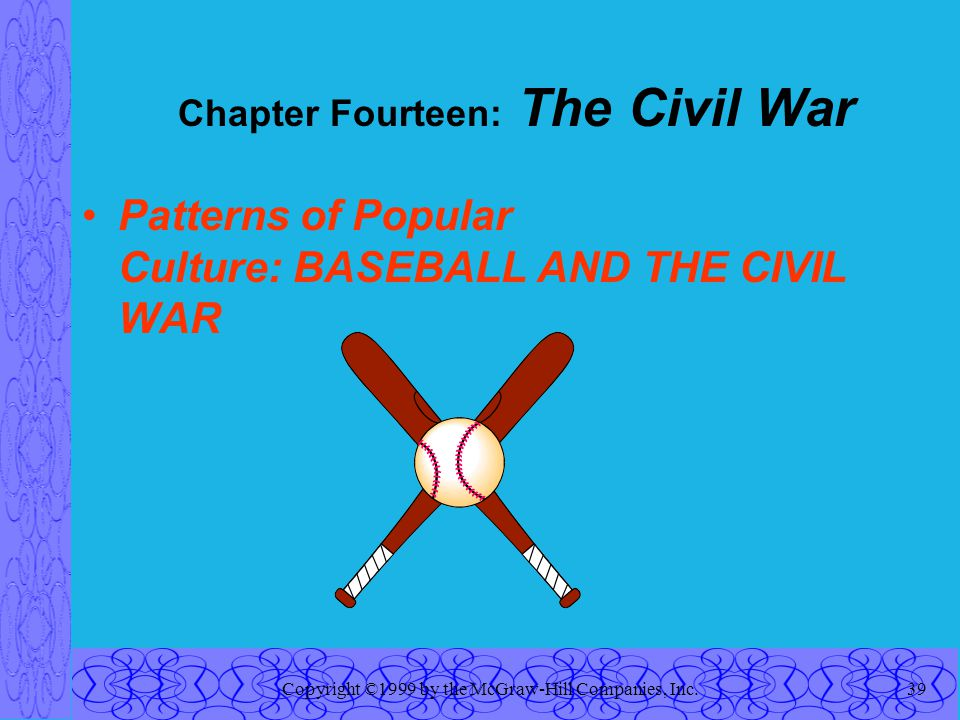 Copyright ©1999 by the McGraw-Hill Companies, Inc.39 Chapter Fourteen: The Civil War Patterns of Popular Culture: BASEBALL AND THE CIVIL WAR