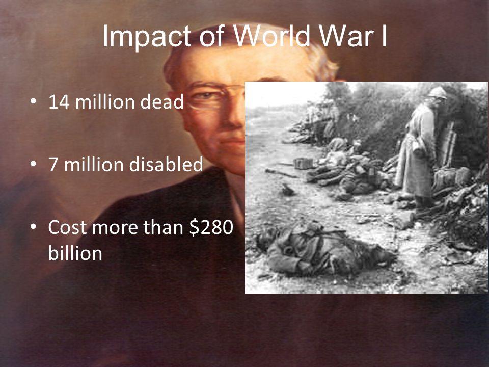 Impact of World War I 14 million dead 7 million disabled Cost more than $280 billion