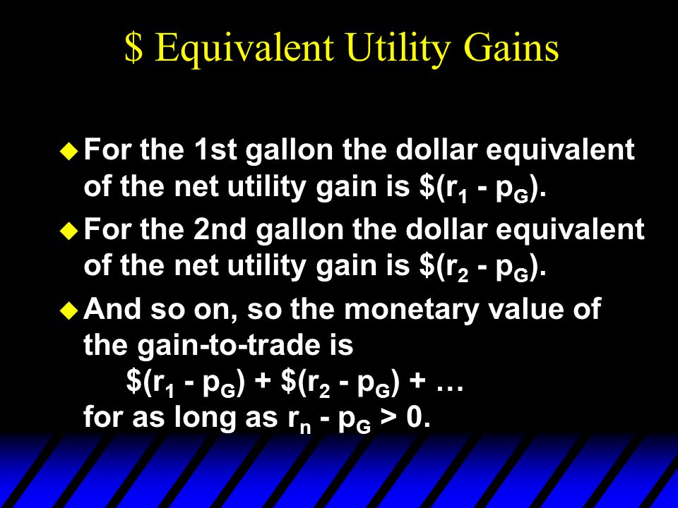  For the 1st gallon the dollar equivalent of the net utility gain is $(r 1 - p G ).