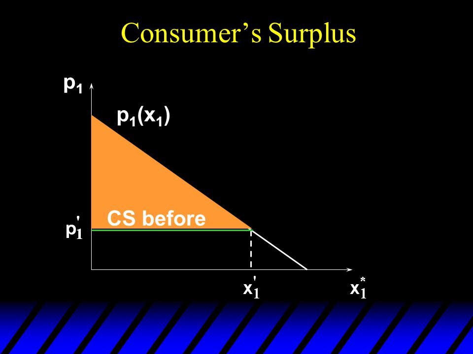 Consumer's Surplus p1p1 CS before p 1 (x 1 )