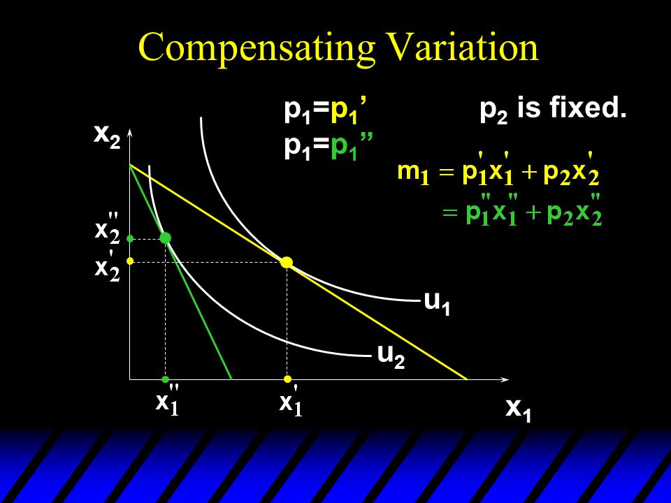 Compensating Variation x2x2 x1x1 u1u1 u2u2 p1=p1'p1=p1 p1=p1'p1=p1 p 2 is fixed.