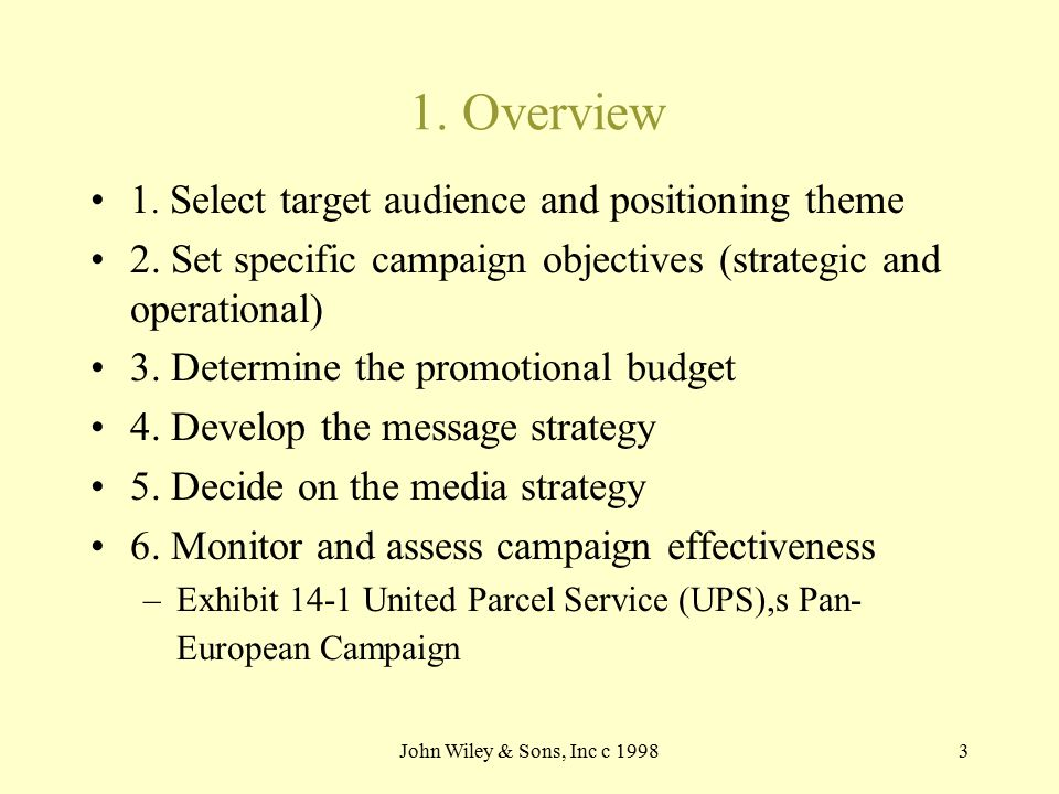 John Wiley & Sons, Inc c 19983 1. Overview 1. Select target audience and positioning theme 2. Set specific campaign objectives (strategic and operatio