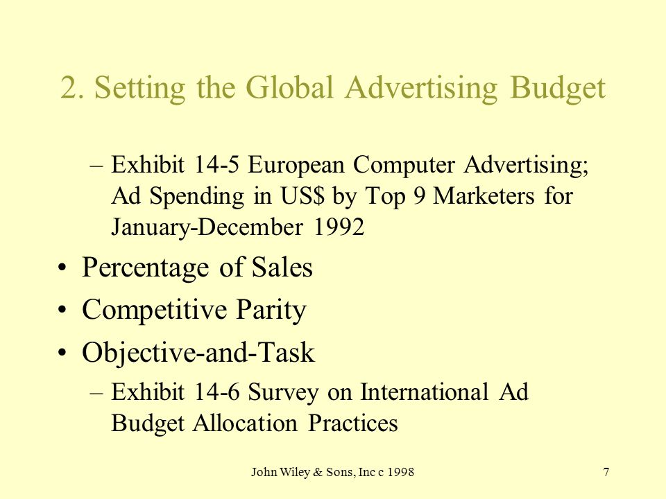 John Wiley & Sons, Inc c 19987 2. Setting the Global Advertising Budget –Exhibit 14-5 European Computer Advertising; Ad Spending in US$ by Top 9 Marke