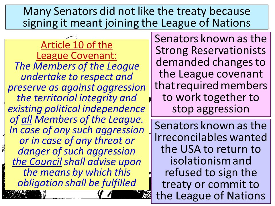Senators known as the Strong Reservationists demanded changes to the League covenant that required members to work together to stop aggression Article