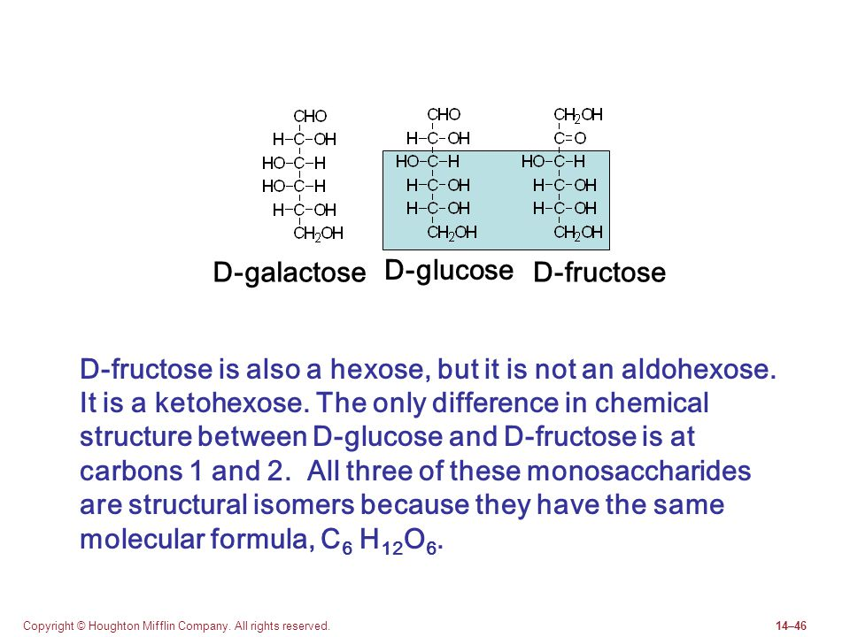 Copyright © Houghton Mifflin Company. All rights reserved.14–46 D-fructose D-glucose D-galactose D-fructose is also a hexose, but it is not an aldohex