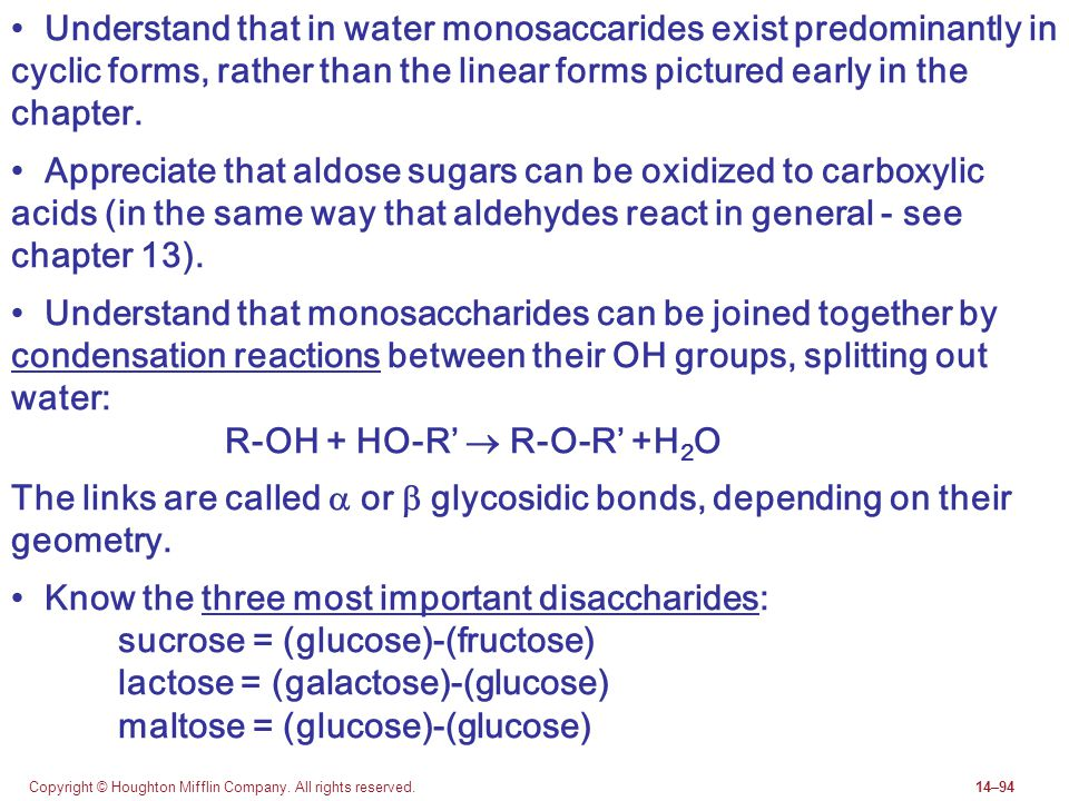Copyright © Houghton Mifflin Company. All rights reserved.14–94 Understand that in water monosaccarides exist predominantly in cyclic forms, rather th