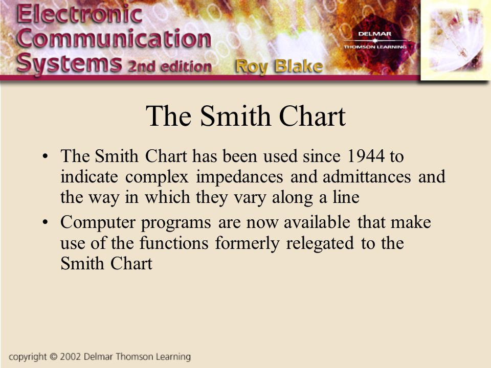 The Smith Chart The Smith Chart has been used since 1944 to indicate complex impedances and admittances and the way in which they vary along a line Computer programs are now available that make use of the functions formerly relegated to the Smith Chart