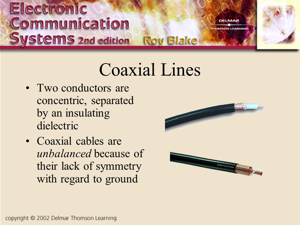 Coaxial Lines Two conductors are concentric, separated by an insulating dielectric Coaxial cables are unbalanced because of their lack of symmetry with regard to ground