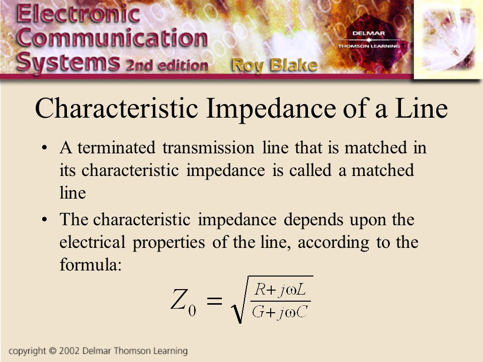 Characteristic Impedance of a Line A terminated transmission line that is matched in its characteristic impedance is called a matched line The characteristic impedance depends upon the electrical properties of the line, according to the formula:
